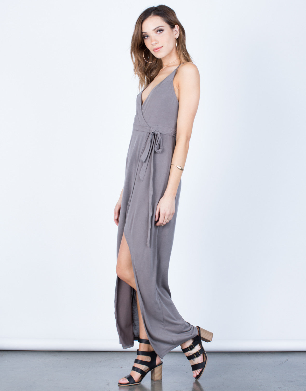 Side View of Wrap Maxi Dress