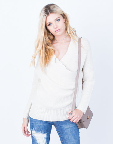 Front View of Wrap Me Up Sweater Top