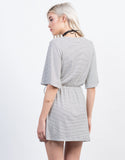 Back View of Wrap It Striped Dress