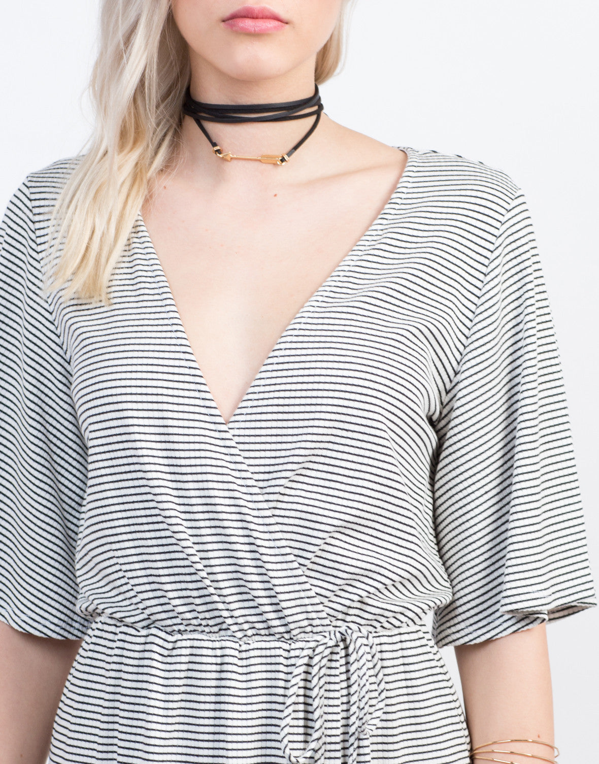 Detail of Wrap It Striped Dress