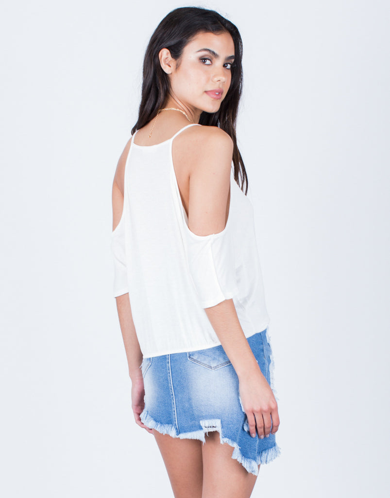 Back View of Wrapped Cold Shoulder Top