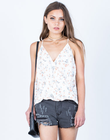 Front View of Wrapped Floral Cami