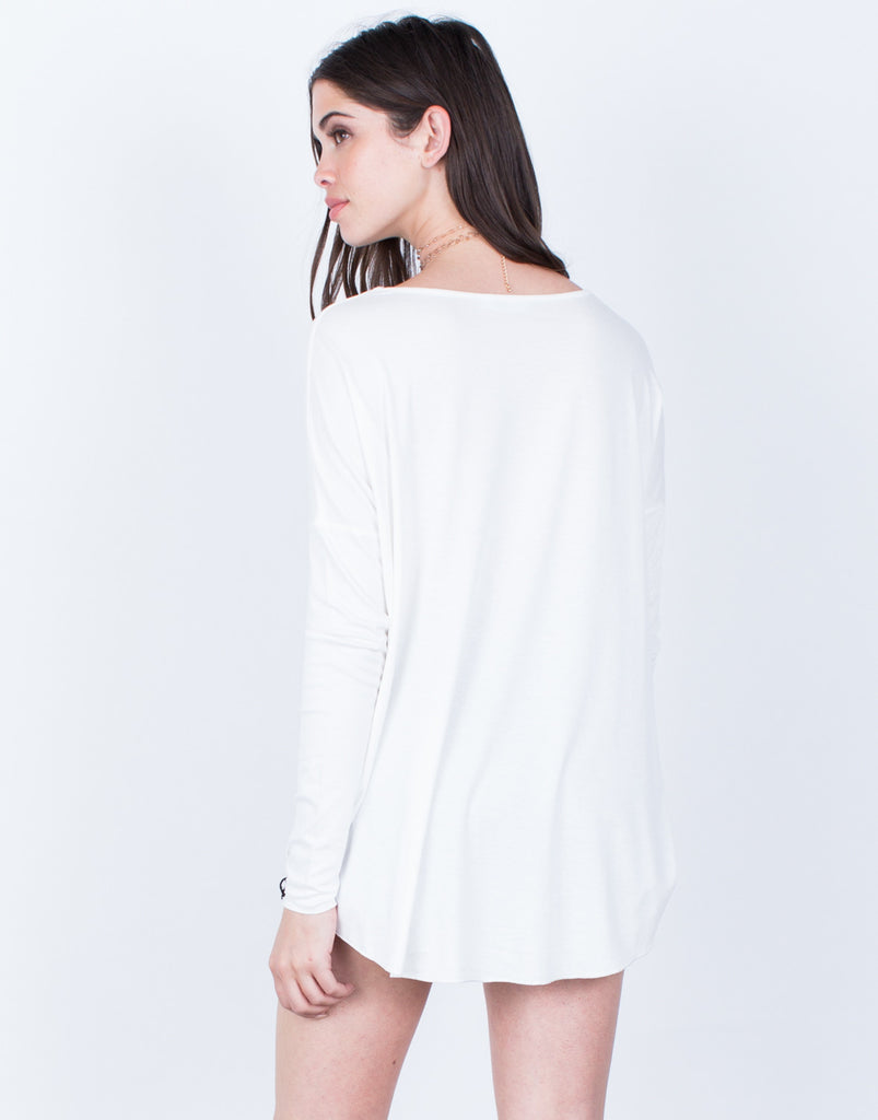 Back View of Wrapped Hi-Low Blouse