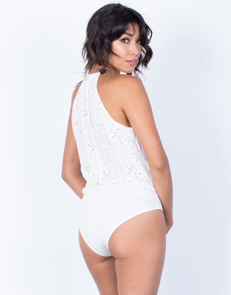Back View of Wrapped in Embroidery Bodysuit
