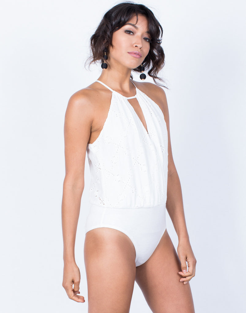 Front View of Wrapped in Embroidery Bodysuit