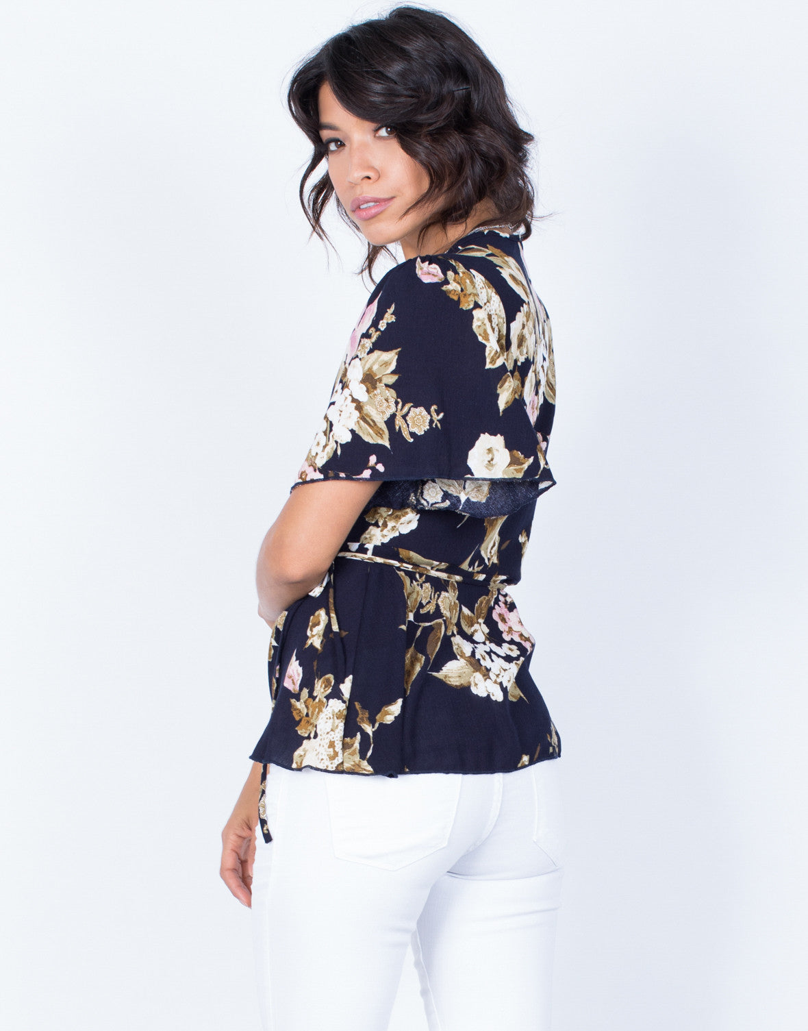 Back View of Wrapped in Florals Top