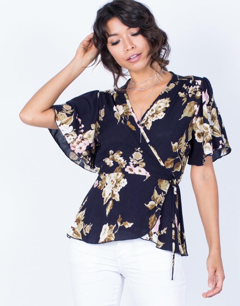 Front View of Wrapped in Florals Top