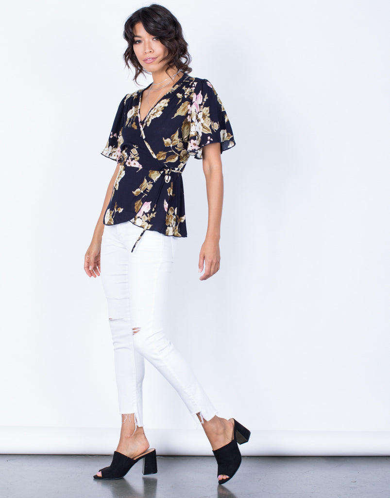 Side View of Wrapped in Florals Top