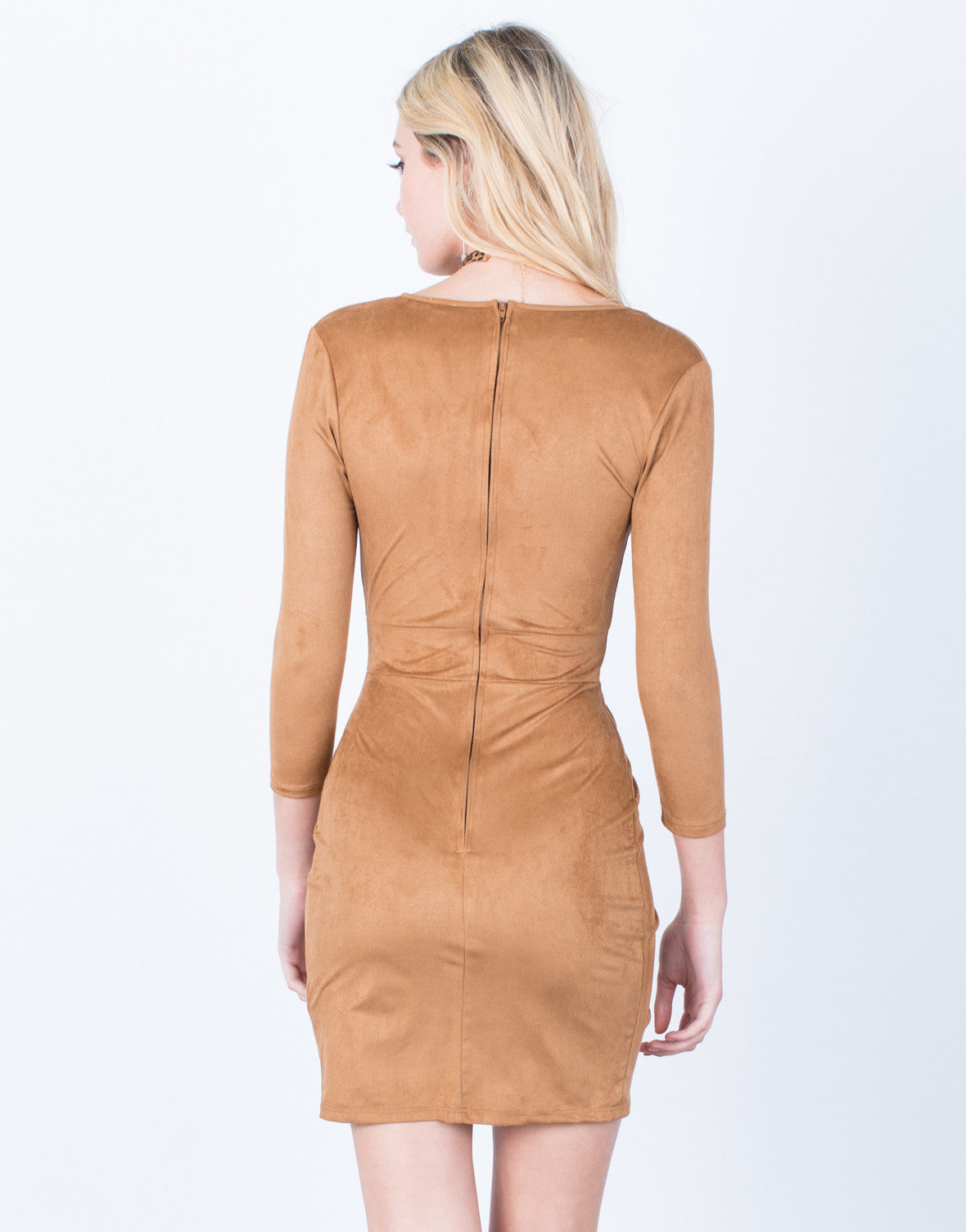 Back View of Wrapped Suede Dress