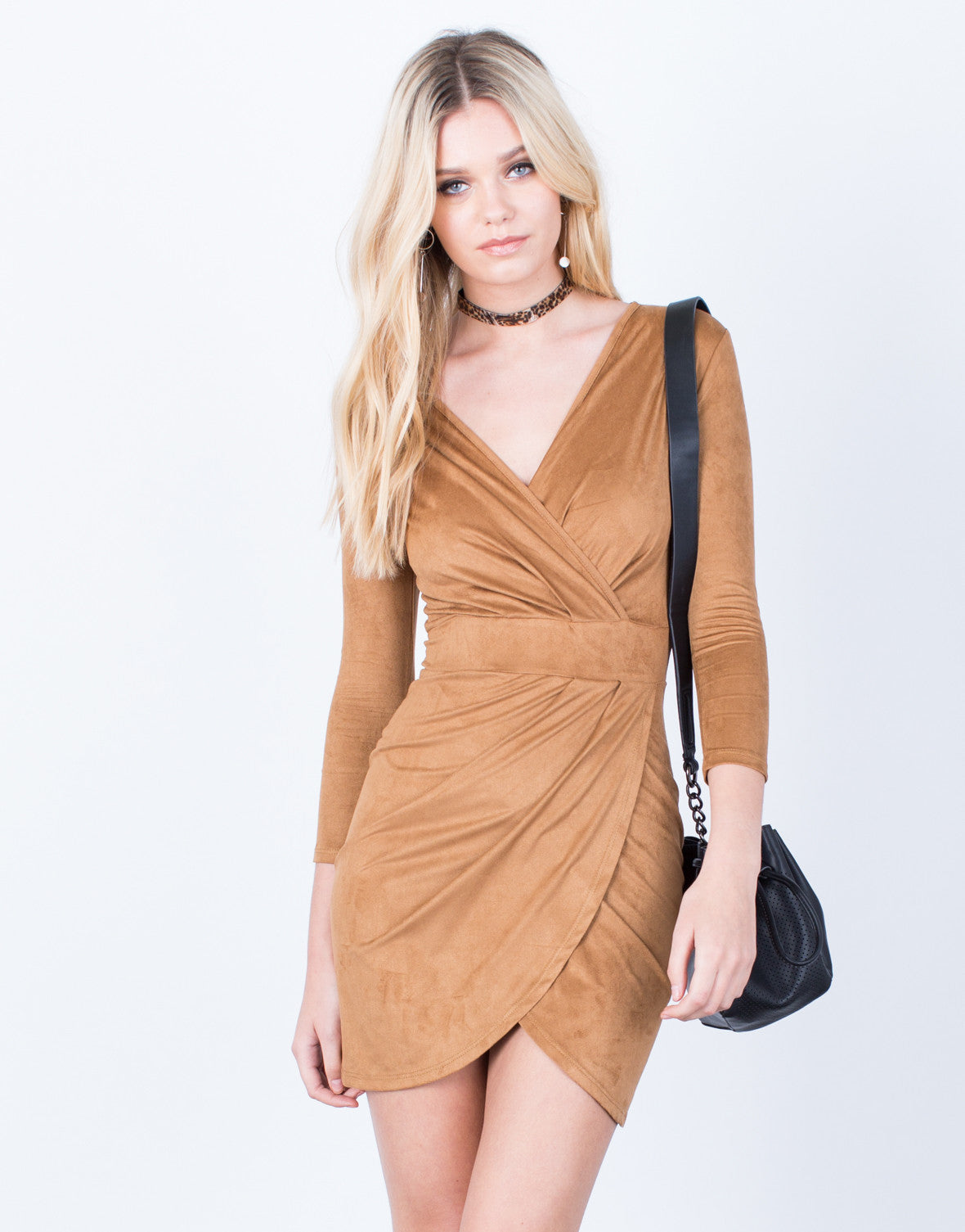 Front View of Wrapped Suede Dress