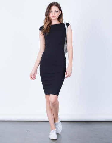 Front View of X-Back Bodycon Dress
