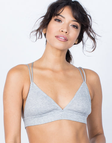 Light Gray Year Round Strappy Bralette - Front View