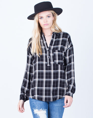 Front View of Your Everyday Plaid Blouse