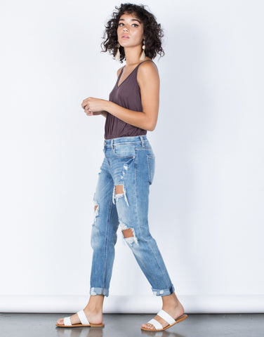 Blue Denim Your Laid-Back Jeans - Side View