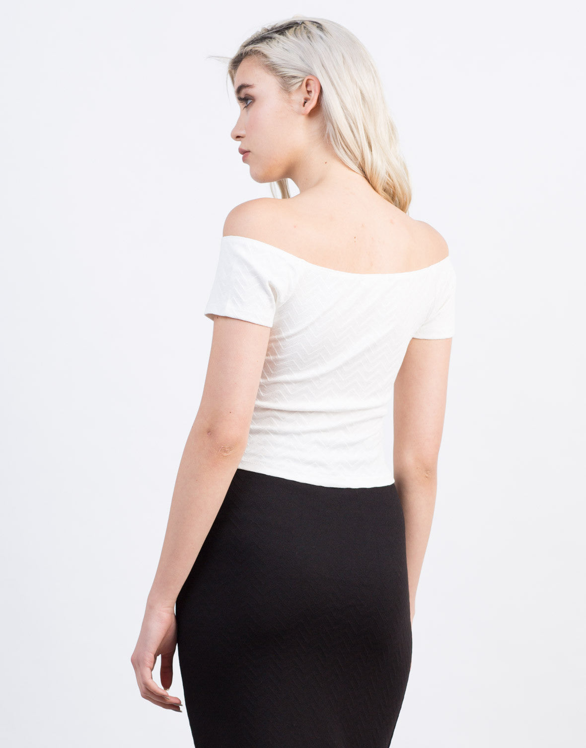 Back View of Zig Zag Cropped Top