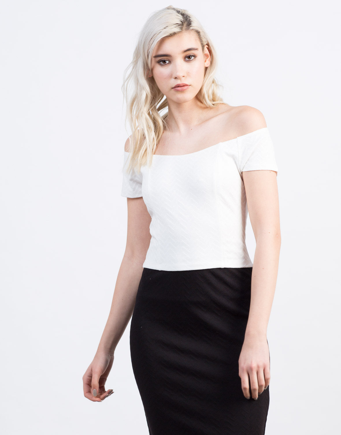 Front View of Zig Zag Cropped Top