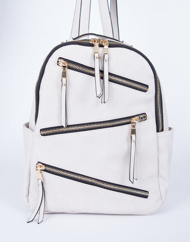 Zig-Zag Zip Up Backpack