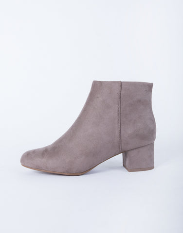 Zip Up Suede Booties