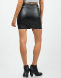 Back View of Zip All Around Leather Skirt