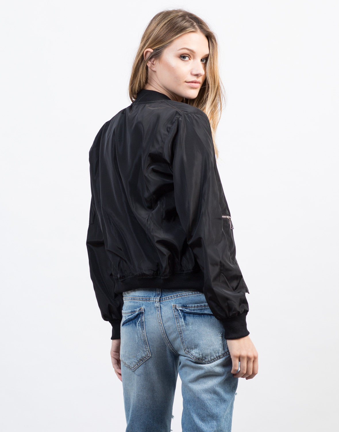 Back View of Zipped In Bomber Jacket