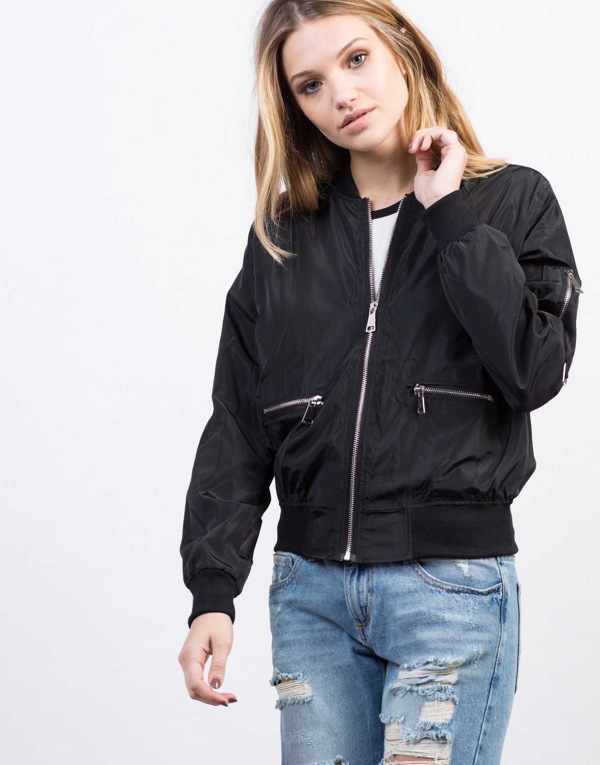 Detail of Zipped In Bomber Jacket