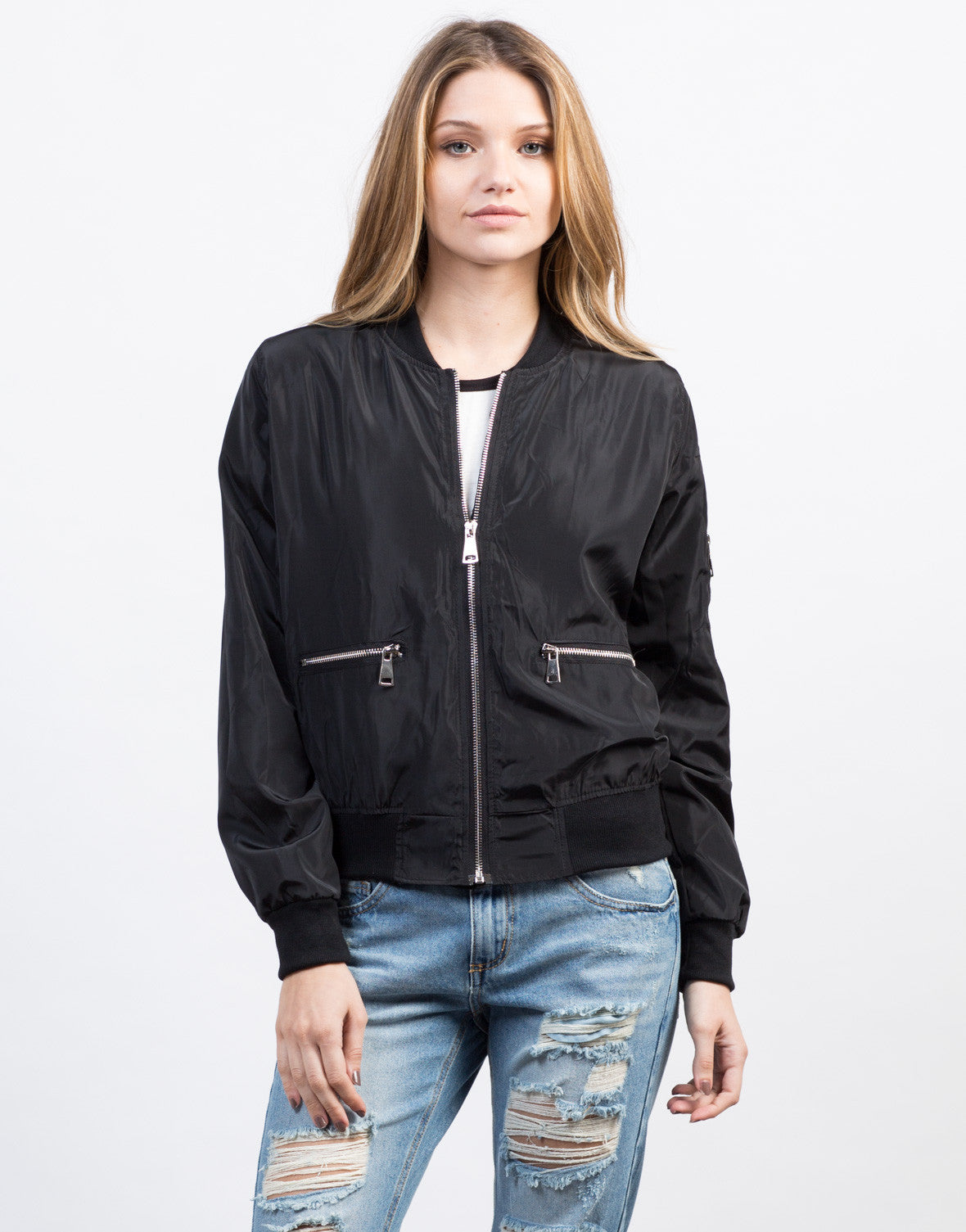 Front View of Zipped In Bomber Jacket