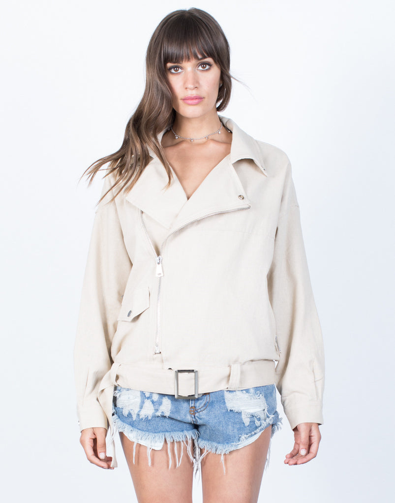 Front View of Zipped in Linen Jacket