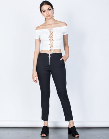 Front View of Zipped Ring Pants