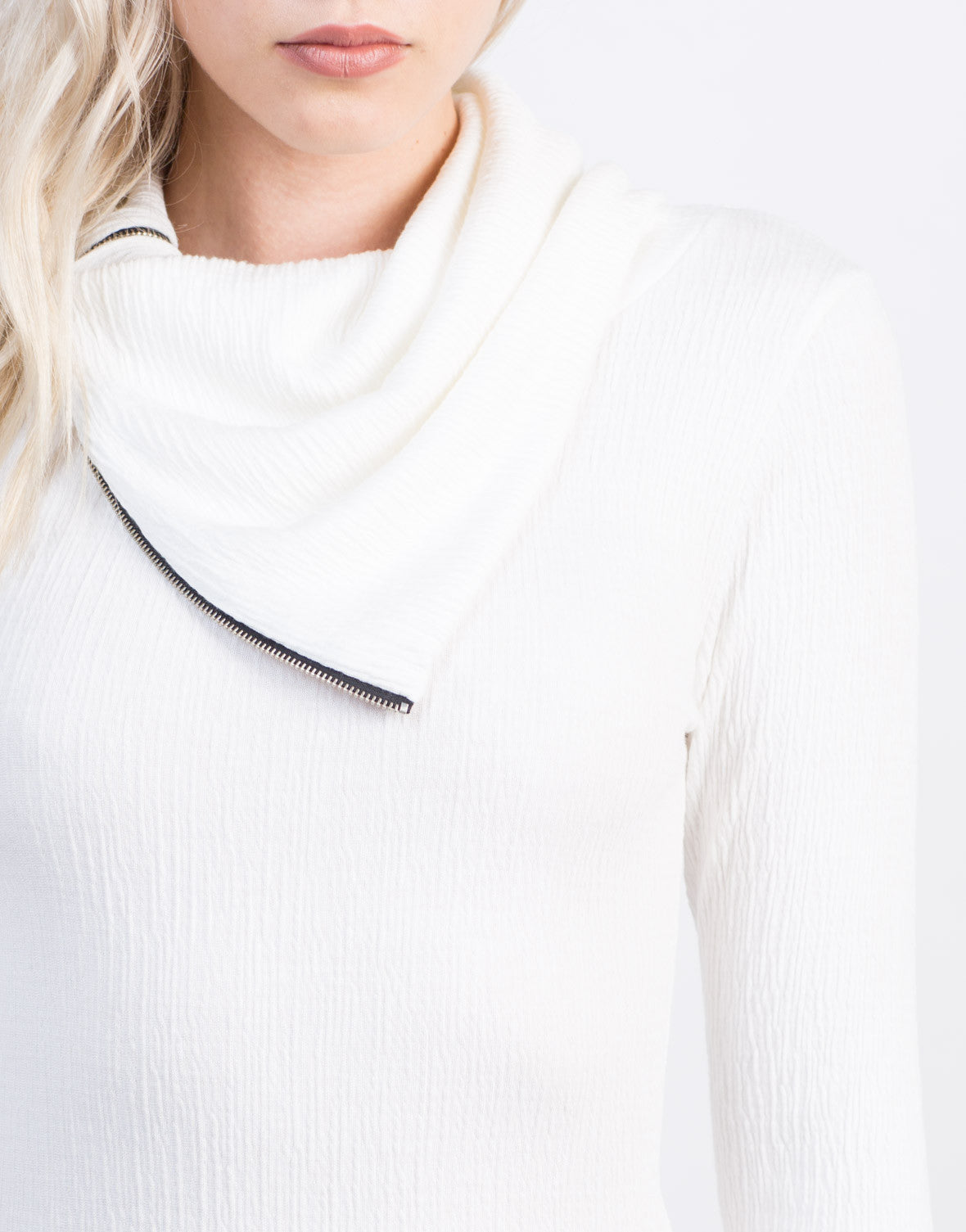 Detail of Zipped Turtleneck Dress