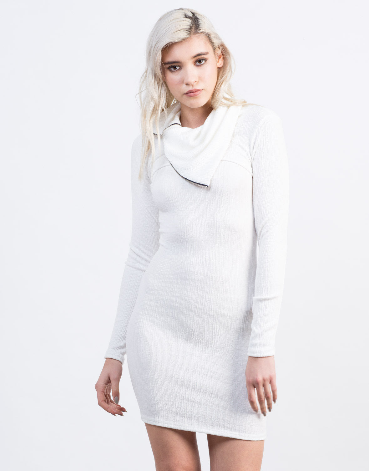 Front View of Zipped Turtleneck Dress