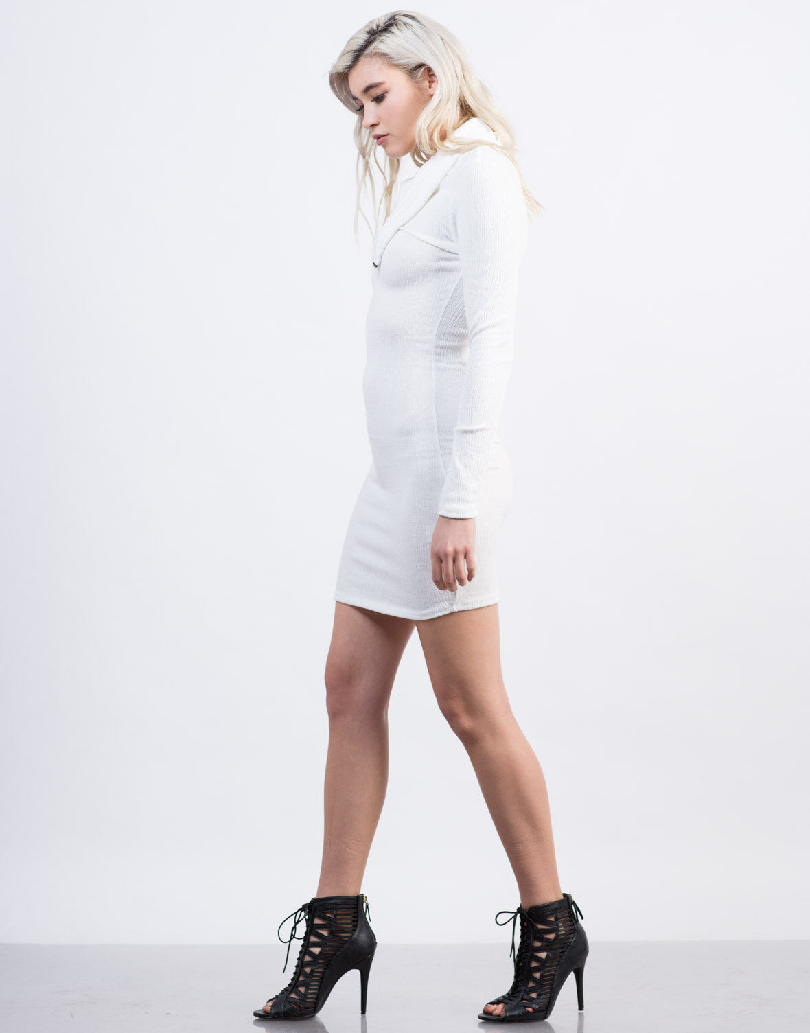 Side View of Zipped Turtleneck Dress