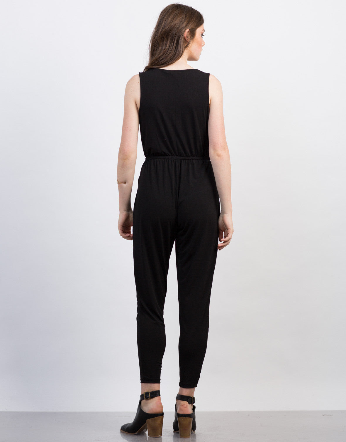 Back View of Zipped Up Jumpsuit