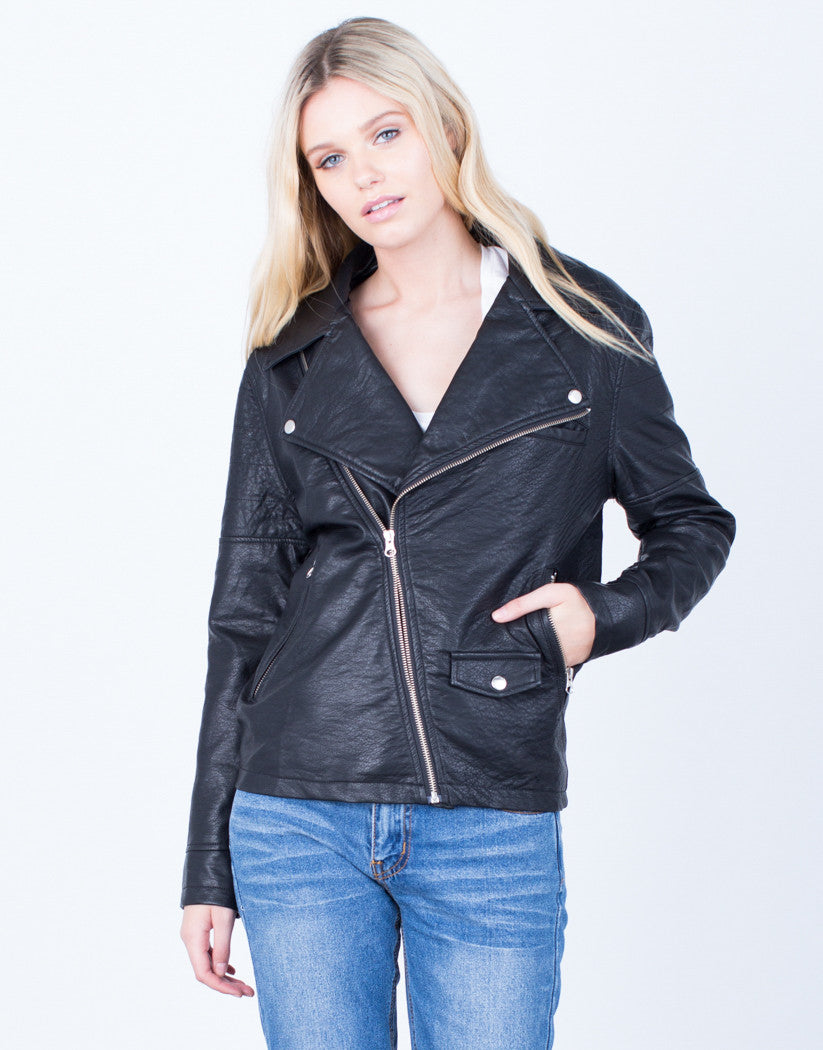 Front View of Zipped Up Leather Jacket