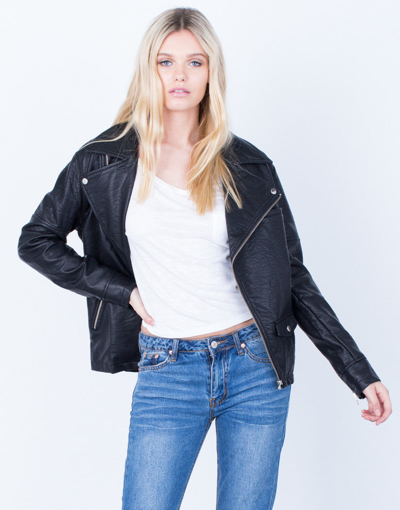 Zipped Up Leather Jacket