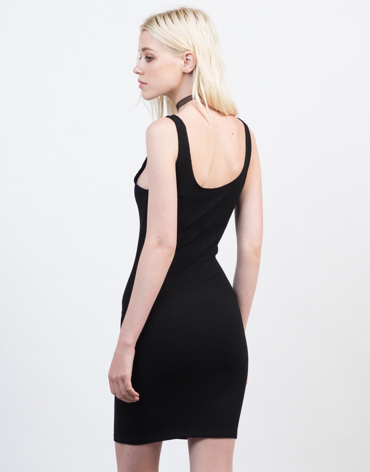 Back View of Zipped Up Rib Knit Dress