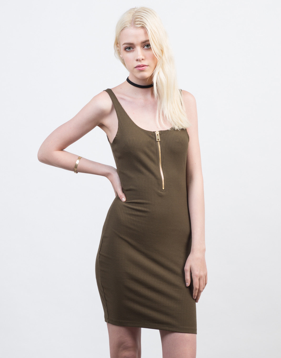 Front View of Zipped Up Rib Knit Dress