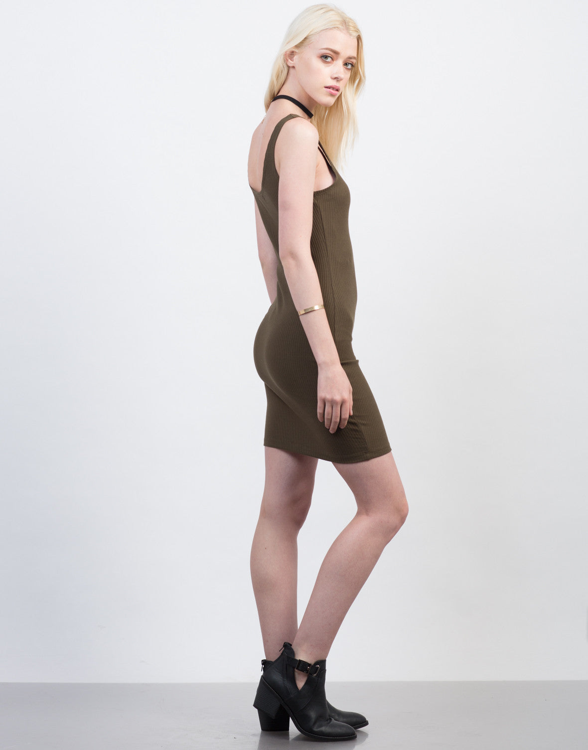 Side View of Zipped Up Rib Knit Dress