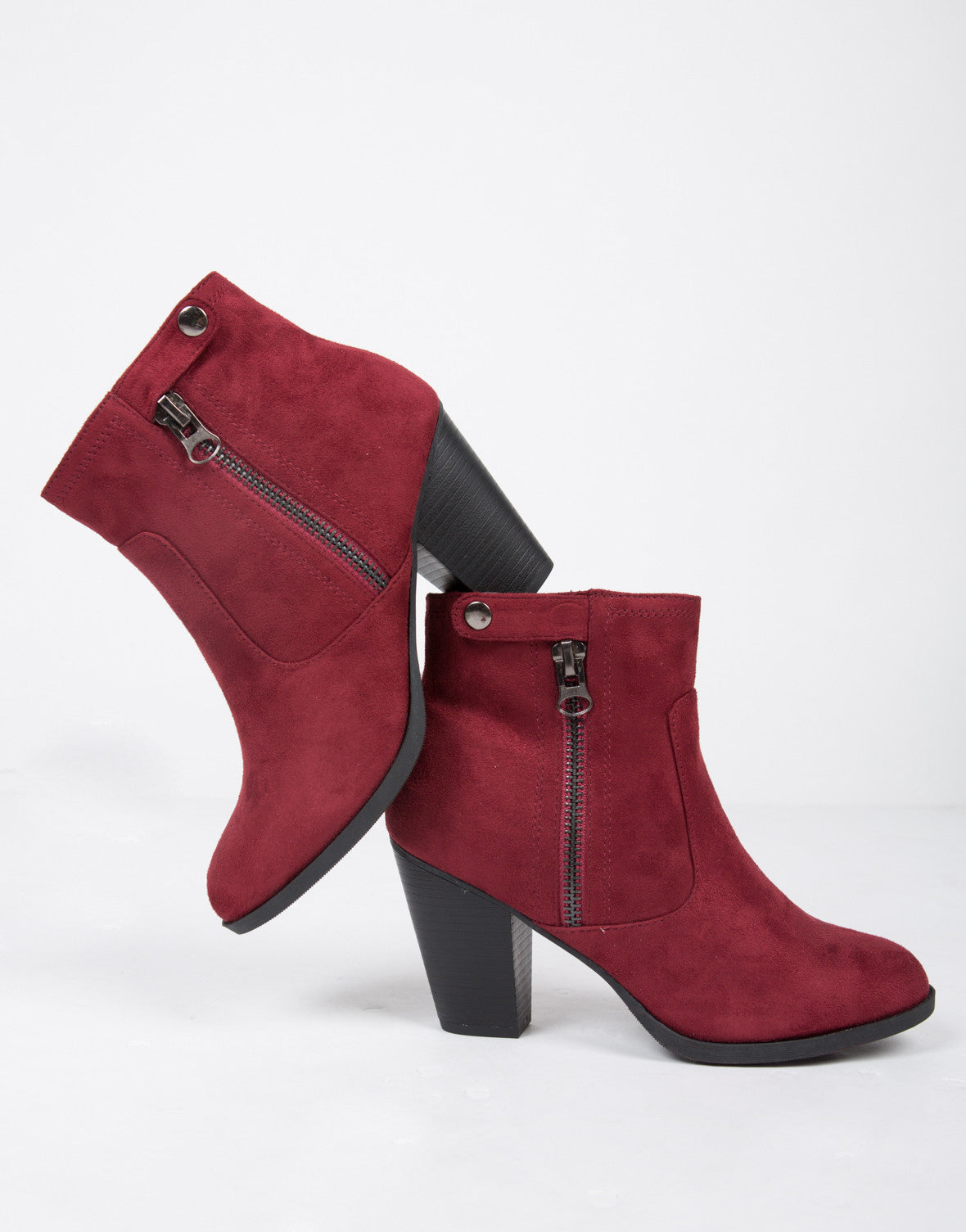 Zipped Up Suede Ankle Boots
