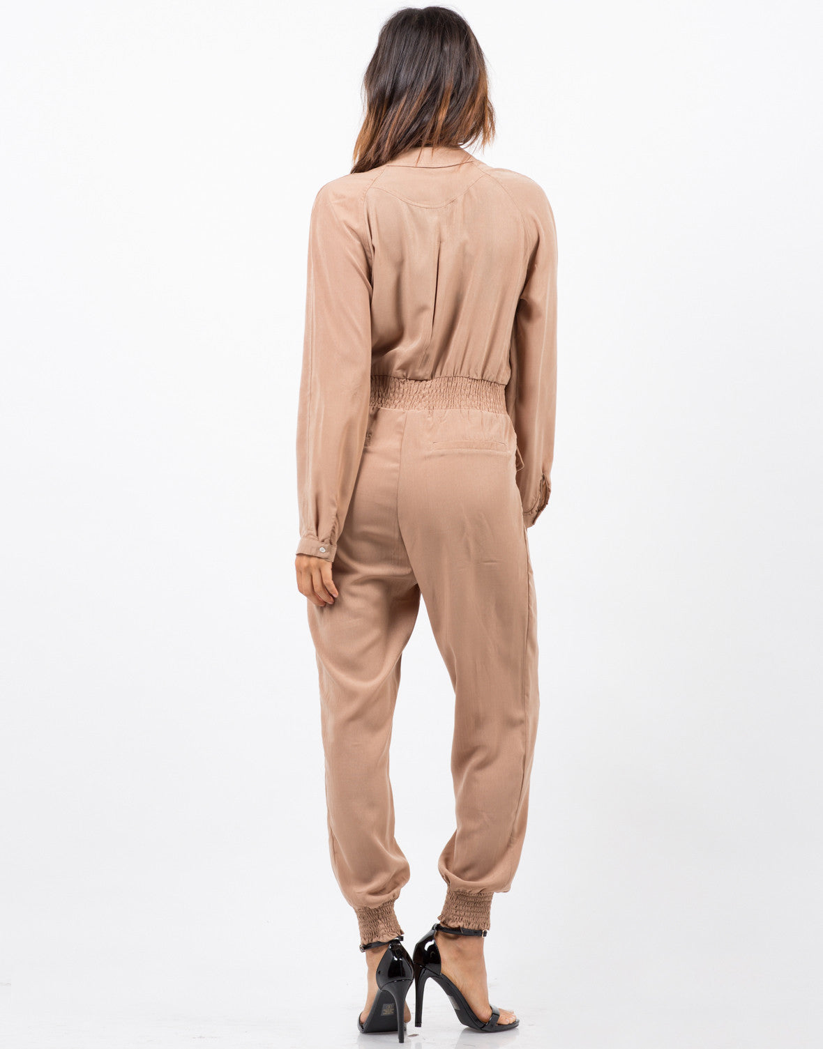 Back View of Zipped Up Utility Jumpsuit