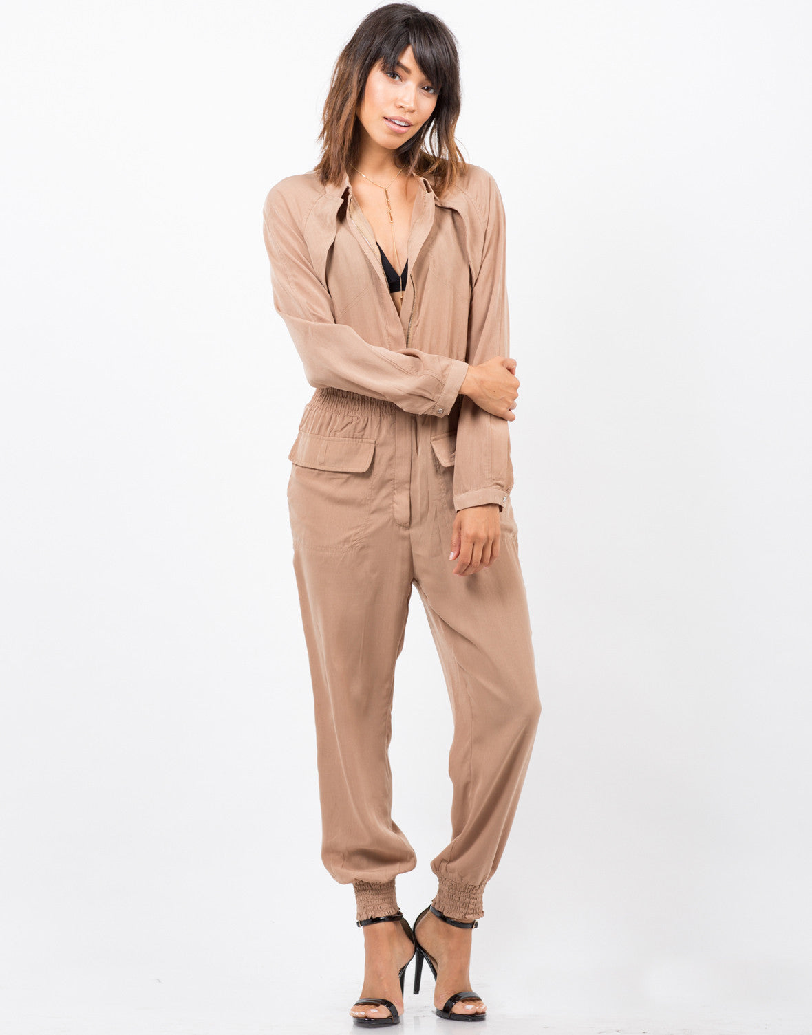 Front View of Zipped Up Utility Jumpsuit
