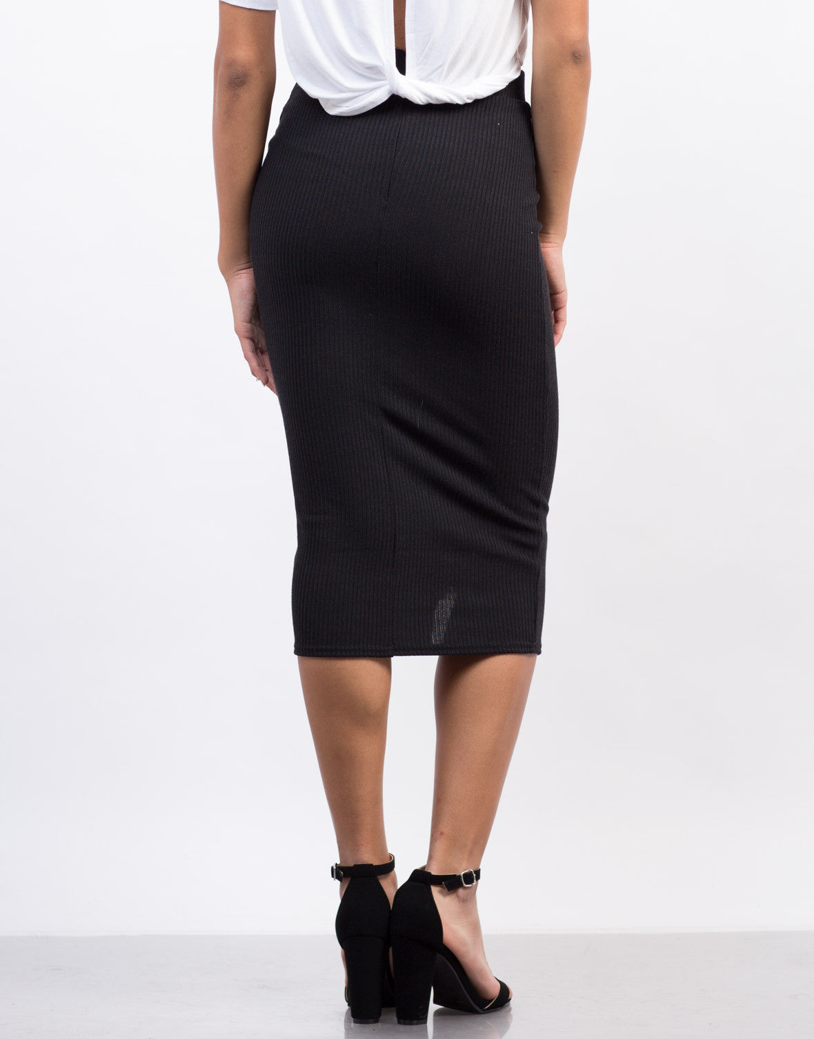 Back View of Zipper Ribbed Midi Skirt