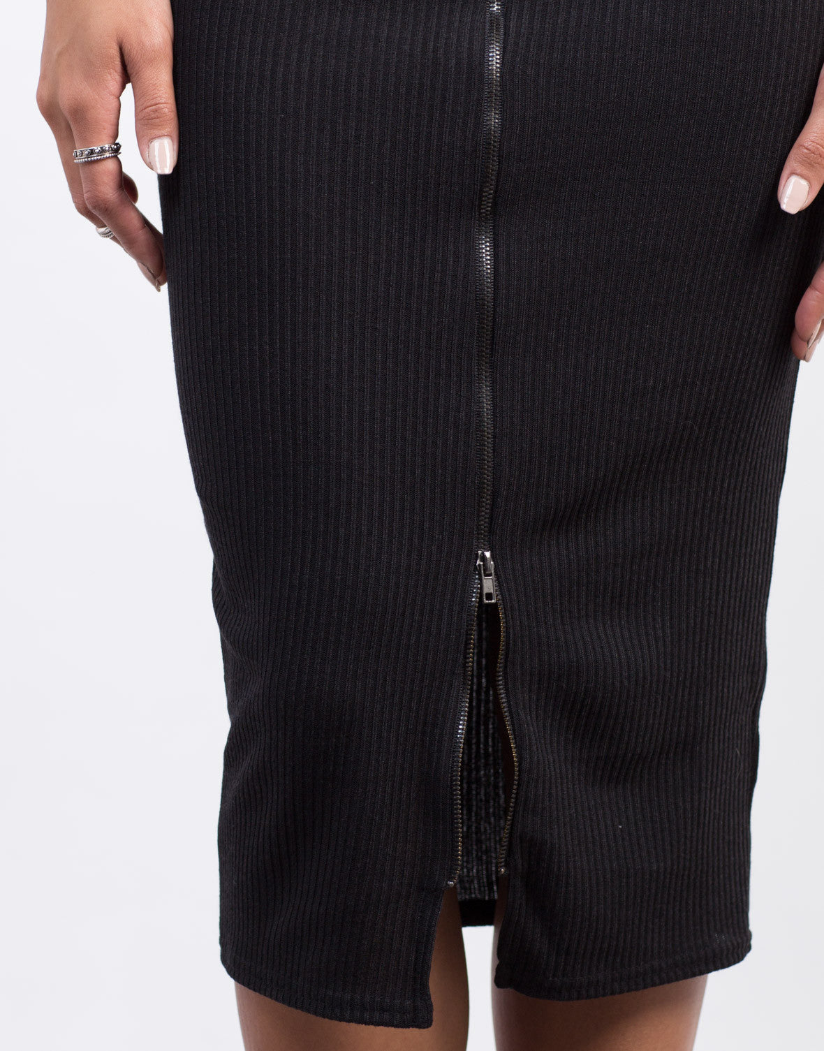 Detail of Zipper Ribbed Midi Skirt