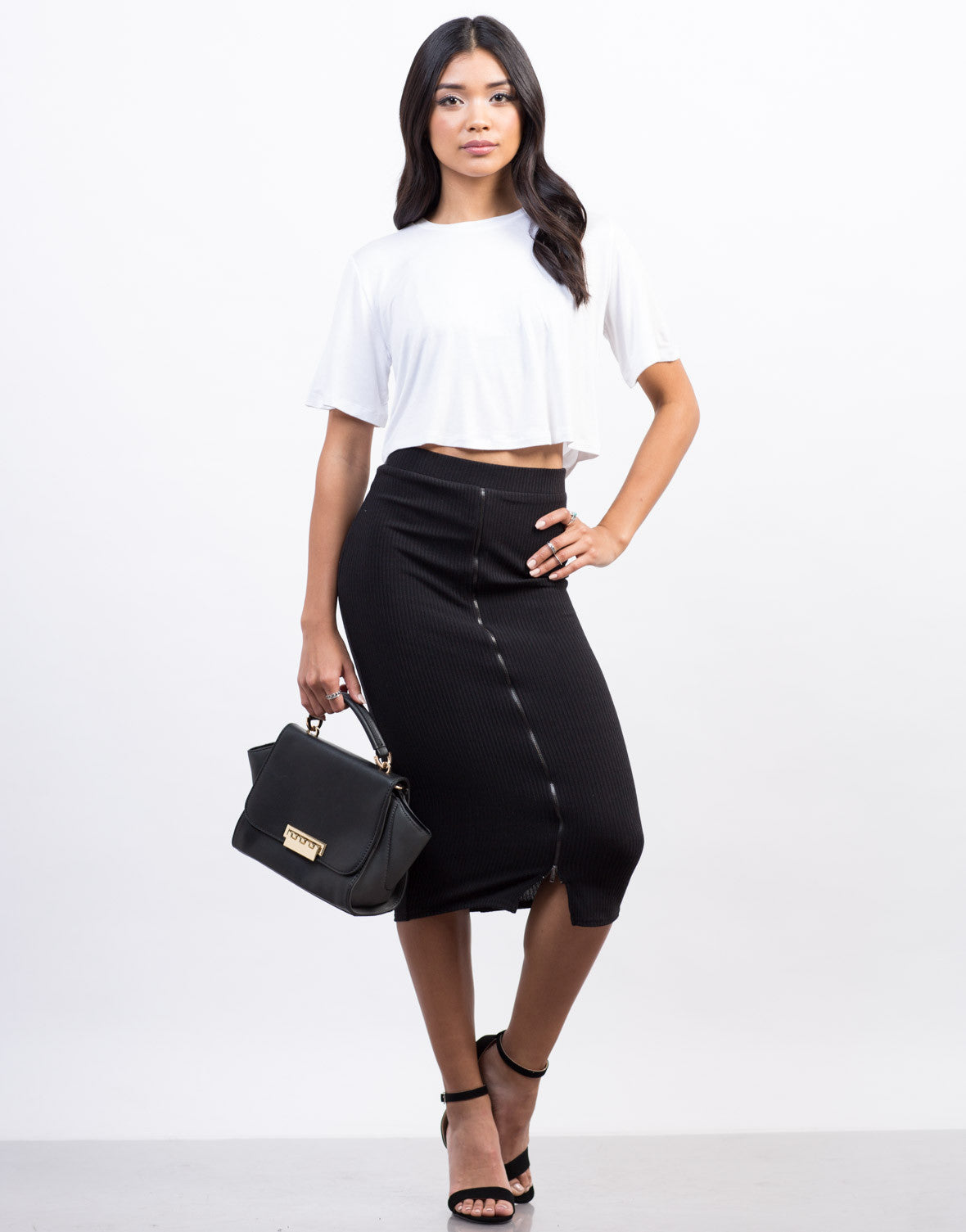 Front View of Zipper Ribbed Midi Skirt