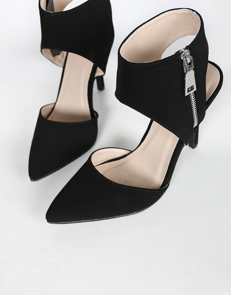 Zipper Cuffed Pointy Pumps