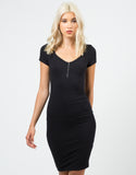 Front View of Zippered Bodycon Dress