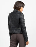 Back View of Zippered Detail Leather Jacket