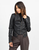 Front View of Zippered Detail Leather Jacket