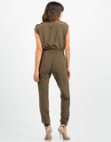 Back View of Zippered Utility Jumpsuit
