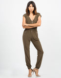 Front View of Zippered Utility Jumpsuit