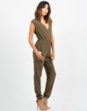 Side View of Zippered Utility Jumpsuit